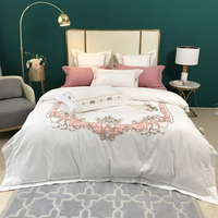Luxury 100% Cotton Thicken Sanding Floral Embroidery Europe Bedding Set Double Duvet Cover Bed Linen Pillowcases Home Textile
