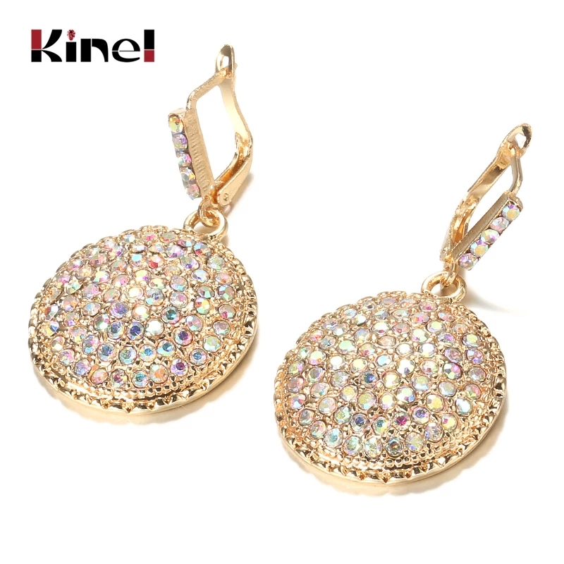 Kinel Fashion Colorful Crystal Women Big Drop Earrings Gold Color Morocco Banquet Wedding Earring Statement Jewelry Crystal Gift