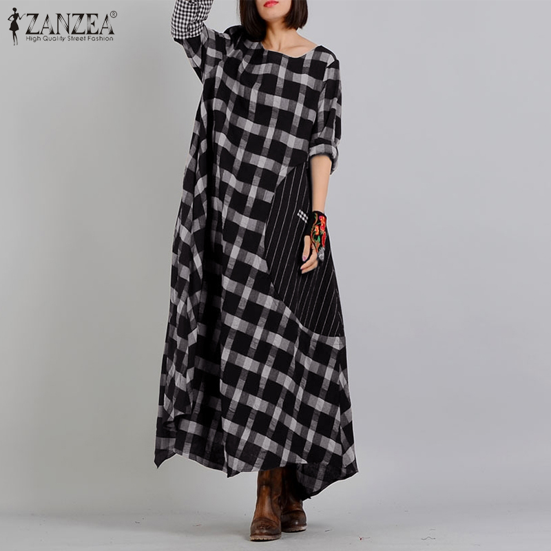 ZANZEA Women O Neck Long Sleeve Plaid Checked Dress Vintage Sundress Spring Maxi Long Vestido Robe Femme Loose Dresses Kaftan