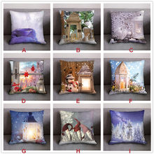 Christmas Cushion Cover 45*45 Red Merry Christmas Printed Polyester Decorative Pillows Sofa Home Decoration Pillowcase(China)