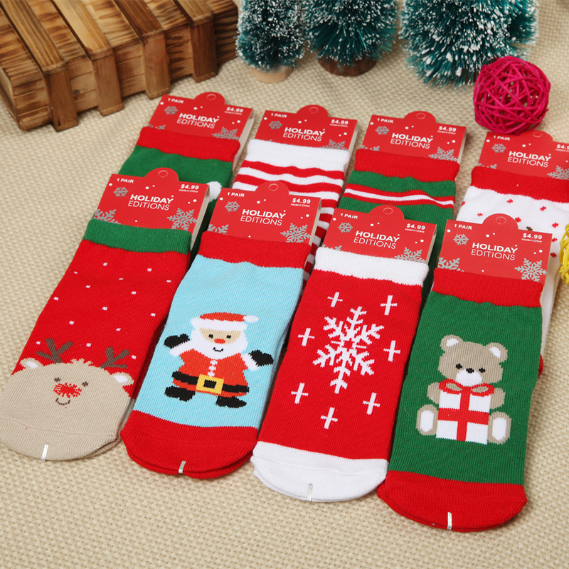 1 Pair Cotton Spring Winter Autumn Baby Girls Boys Kids Socks Children Striped Snowflake Santa Claus Christmas Bear