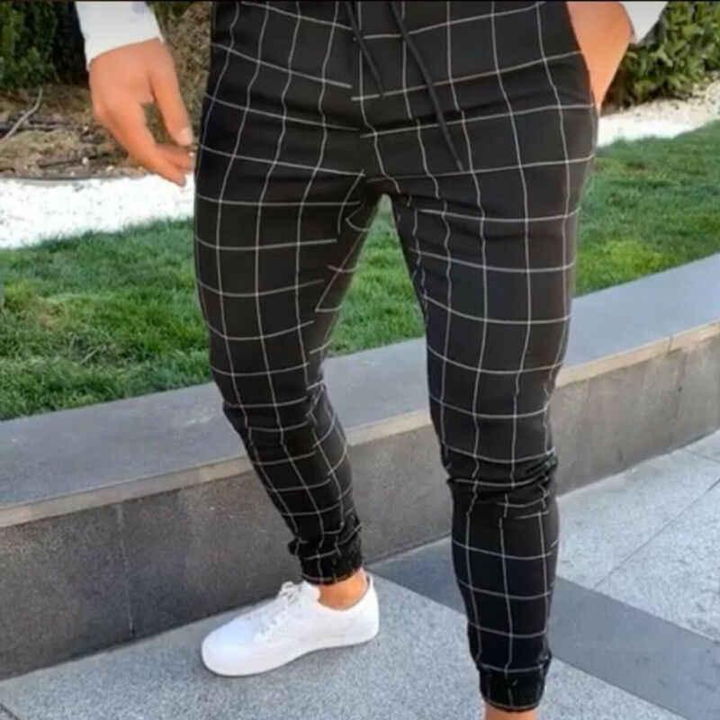 2020 Sexy Hohe Wasit Frühling Sommer Mode Tasche männer Slim Fit Plaid Gerade Bein Hose Casual Bleistift Jogger Casual hosen