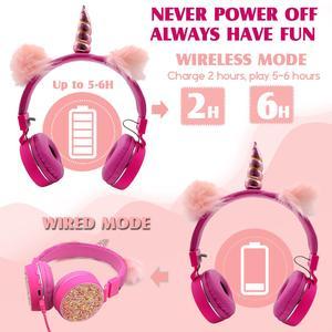 Image 5 - Jednorożce słuchawki bezprzewodowe słuchawki Bluetooth dla dzieci składana muzyka stereo rozciągliwy zestaw słuchawkowy dla chłopców dziewcząt prezenty