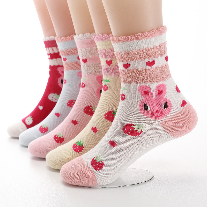 5 Pairs / Lot Autumn New Girls Socks Cotton  Cartoon Rabbit Strawberry Lace Candy Color Children's Socks For Girls 3- 12 Year
