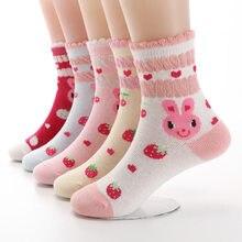 5 Paare/los Herbst Neue Mädchen Socken Baumwolle Cartoon Kaninchen Erdbeere Spitze Candy Farbe kinder Socken Für Mädchen 3- 12 jahr
