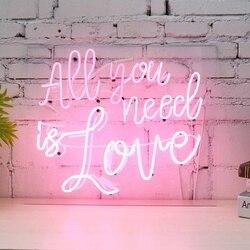 الوردي كل ما تحتاجه هو الحب النيون تسجيل عمود إضاءة led نادي الجدار ضوء الفن مصباح عيد الحب الزفاف الديكور عطلة الإضاءة