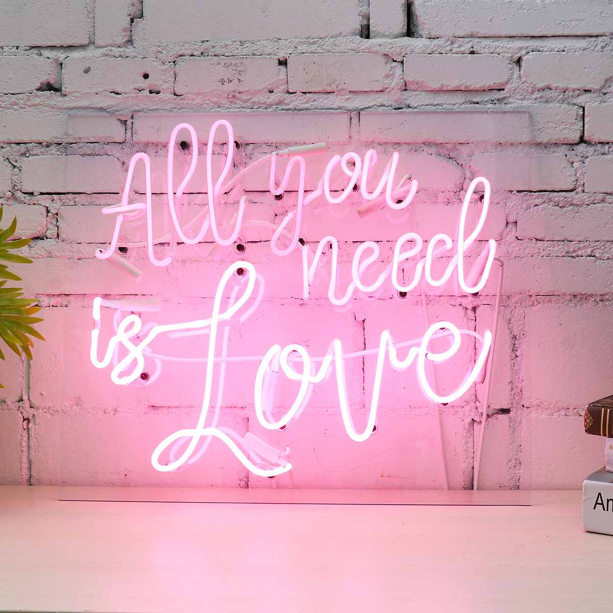 Pink All You Need Is Love Neon Sign LED Bar Club Wall Light Art Lamp Valentine's Wedding Party Decoration Holiday Lighting