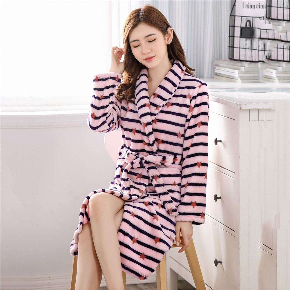 Pink Stripe Female Bathrobe Sleepwear Winter Padded Flannel Warm Robe Full Sleeve Kimono Gown Sexy Loose Lounge Home Clothes