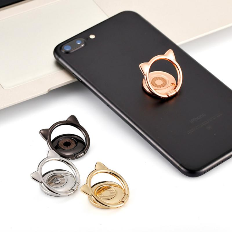 Alloy Cat Ear Cute Finger Ring Holder 360 Rotate Magnetic   Mobile Phone Stand For IPhone Samsung Xiaomi Mobile Phone
