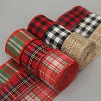 Cinta de imitación de cáñamo, cinta de lino con borde de alambre, cinta de decoración navideña, rojo y verde copo de nieve, cinta a cuadros de 6 M/rollo