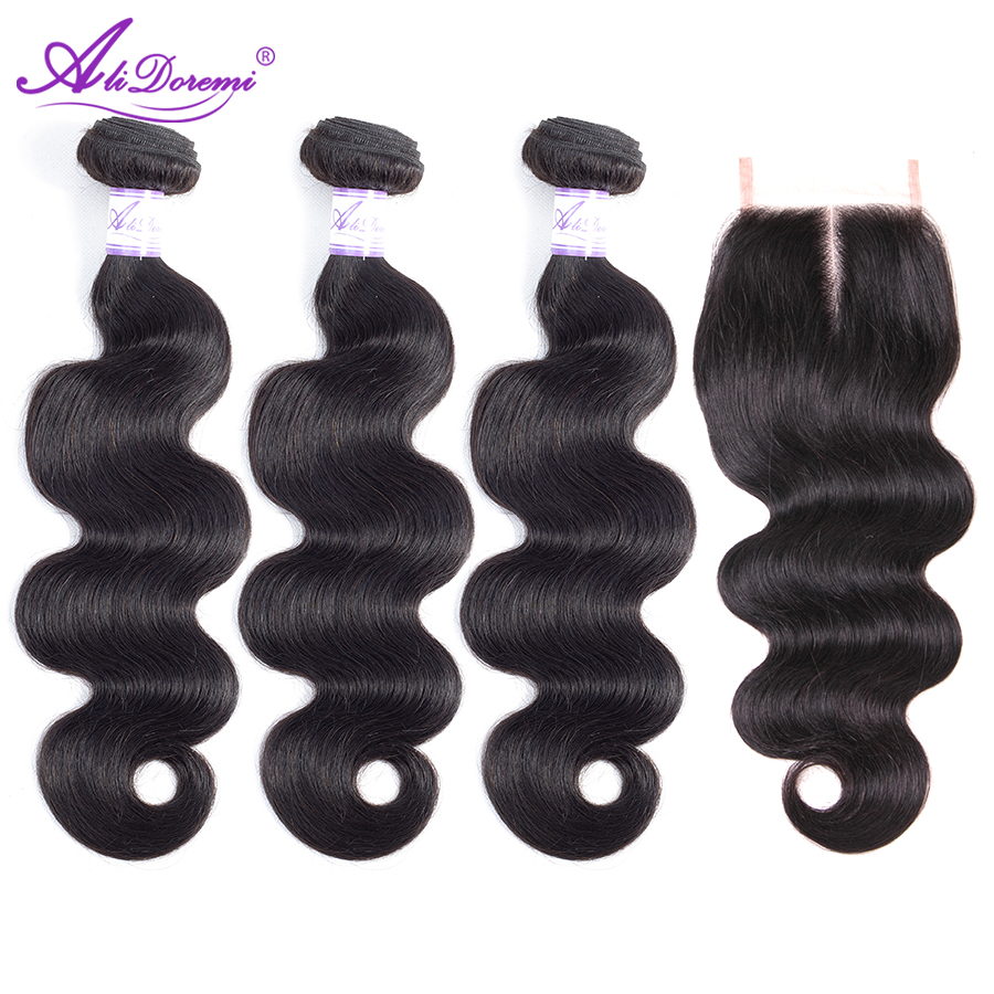 Brazilian Body Wave Bundles With Closure 3 Bundles Human Hair Bundles With Lace Closure Alidoremi Remy Hair Weave Bundles