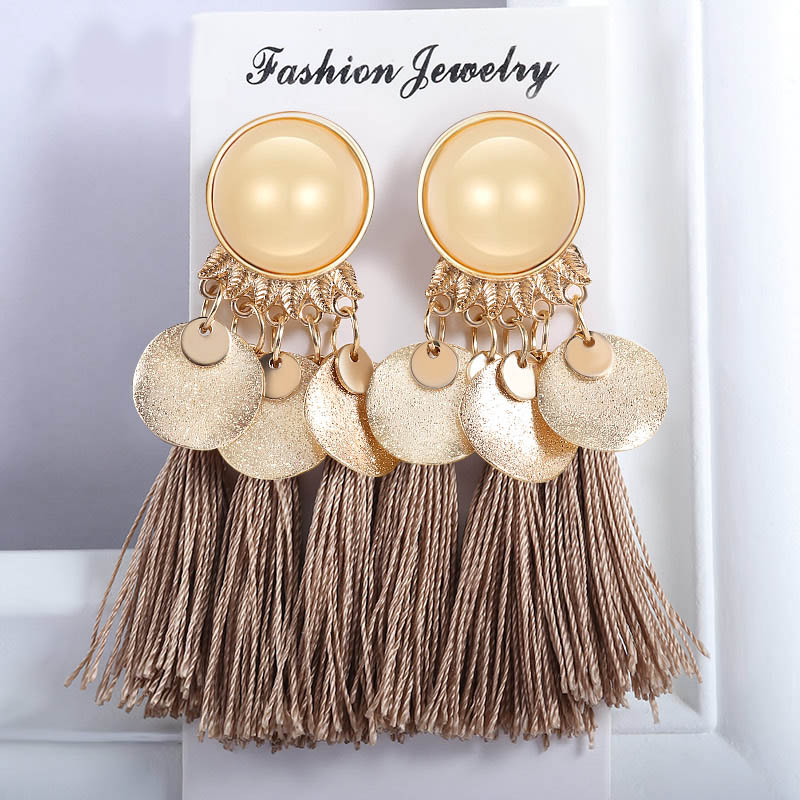 Statement Bohemian Tassel Drop Earrings For Women 2019 Fashion Vintage Ethnic Cotton Silk Fabric Fringe Earring Wedding Jewelry