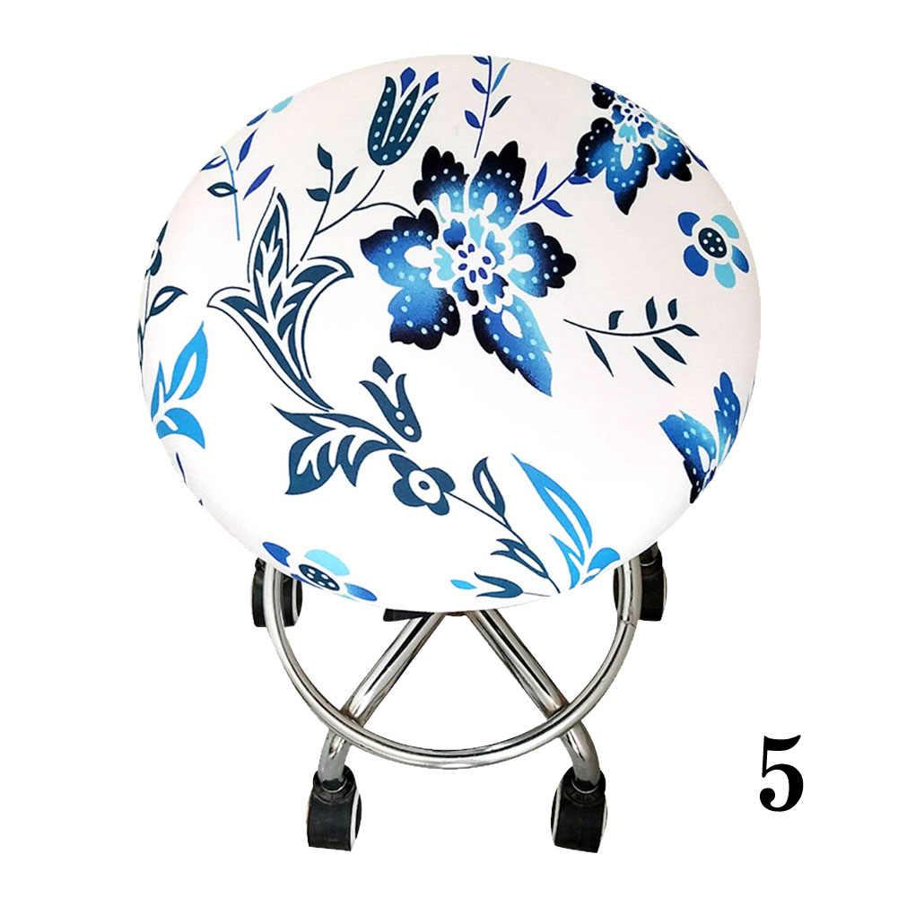Эластичный чехол для табурета, мягкое сиденье для дома, бара, офиса, с цветочным принтом, круглый стул, четыре сезона, из полиэстера