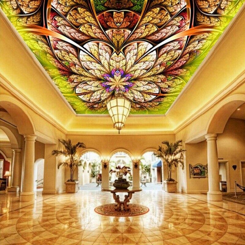 Drop Shipping Custom Photo Wallpaper Custom HD European Fantasy Abstract Gorgeous Frescoes Hotel Hall Ceiling Mural Wallpaper