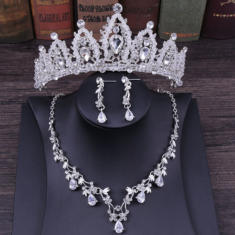 Wedding-Jewelry-Set Necklace Earrings Crystal Rhinestone Tiara