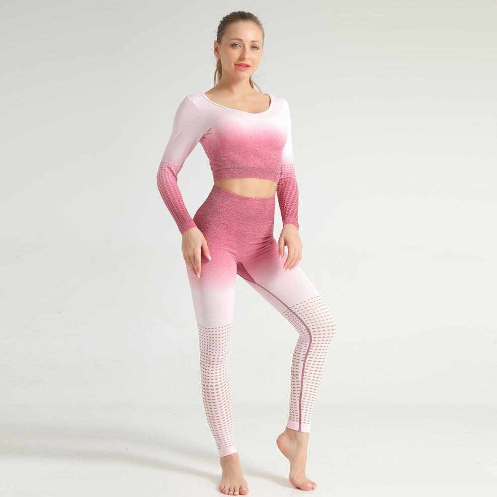 New Arrival Women Sportswear Sexy V-Neck Crop Top and Leggings Gym High Waist Elegant Hollow Out 2 Piece Set Girls Fitness Pants 11