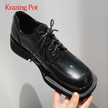 Women Pumps Heel Krazing-Pot Lace-Up Square Toe Fashion L13 Recommend Pretty Preppy-Style