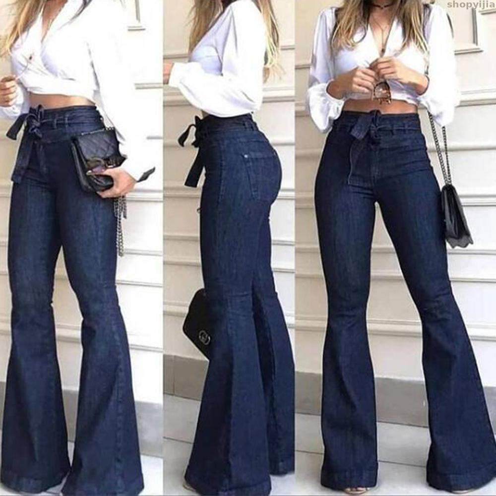 Blue Skinny Sexy Vintage Ladies Flared Trousers Bell Bottom Jeans Fall Women's Jeans High Waist Denim Flare Pants Street Style
