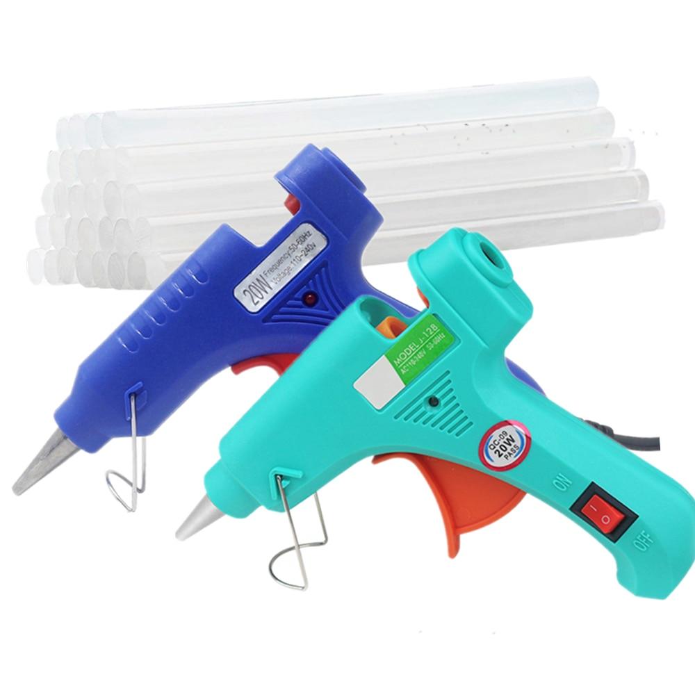 Hot Melt Glue Gun Glue Stick Mini Guns Thermo Electric Heat Temperature Tool For Wood Working Stick Paper Hairpin PU Flowers