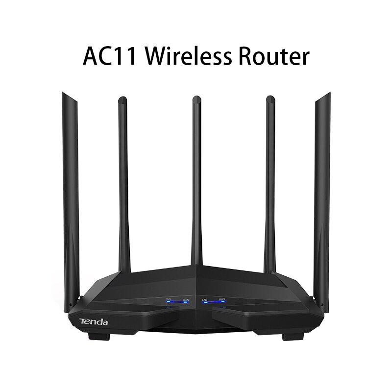 Беспроводной маршрутизатор Tenda AC11, гигабитный двухдиапазонный AC1200 Wi-Fi роутер, ретранслятор, 5*6 дБи антенны с высоким коэффициентом усиления ...