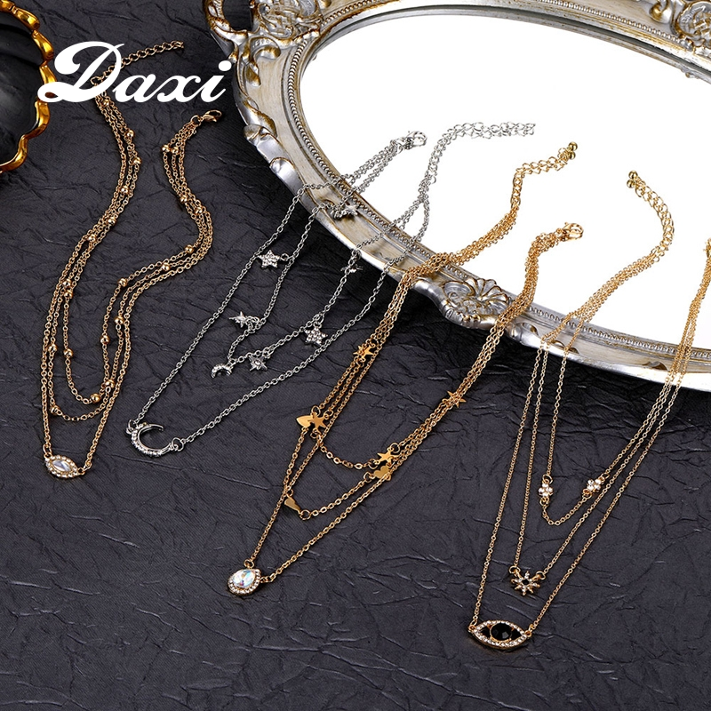 DAXI boho long layered necklace jewelry gold chain necklace chains necklaces for women pendant neckless pendants fashion jewlery(China)