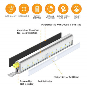 Image 5 - אלחוטי LED תחת קבינט אור PIR חיישן תנועת מנורת 6/10 נוריות עבור מלתחת ארון ארון מטבח תאורת Led לילה אור