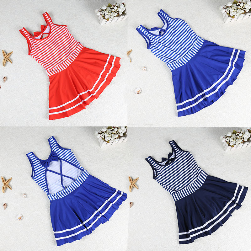 Girls Stripes Hipster Siamese Swimsuit Cute Bow Backless Hot Springs Girls Swimwear 4-7-Year-Old