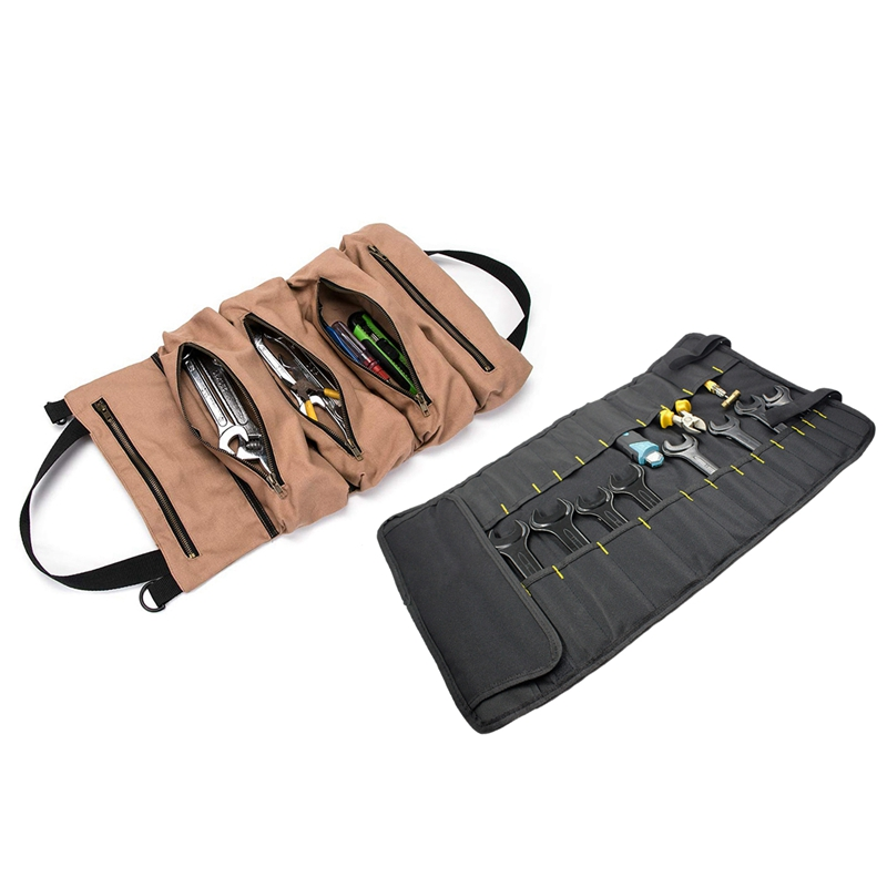 2 Pcs Tool Storage Bag:1 Pcs Multifunction Oxford Cloth Folding Wrench Bag Tool Roll Storage Tools & 1 Pcs Super Tool Roll, Larg