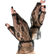 Free Ostrich Soft Gloves Ladies Short Black Lace Fingerless Gloves Net Goth Gothic Fancy Dress Weddingg Tights Stockings 2019(China)