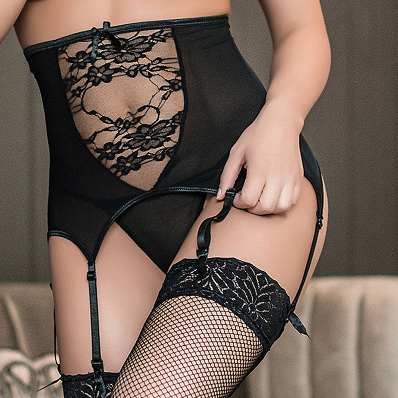 Comeondear Wide Suspender Belt High Waist Women Underwear Free Ship Porte Jartelles Sexy Plus Size 5XL Lace Garter Belt  P5140