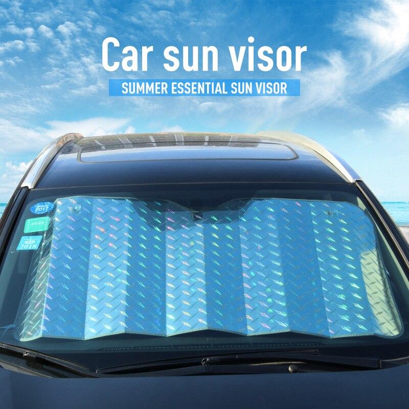 Piezas de coche, parasol delantero trasero para parabrisas de coche, parasol grueso para ventana de coche, parasol láser, Visor de filme, accesorios para Exterior de coche y ventana de coche Protector para volante de coche FORAUTO, fundas de cuero de PU antideslizantes y transpirables, adecuado para decoración de automóvil de fibra de carbono de 37-38cm