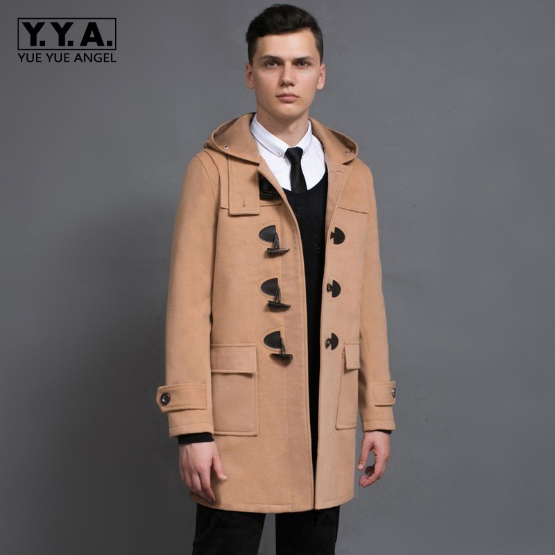 Preppy Style Mens Fashion Claw Button Mid Long Coat Woolen Blends Hoody Dust Coats Casual Slim Fit Male Wool Trench Overcoat 6XL