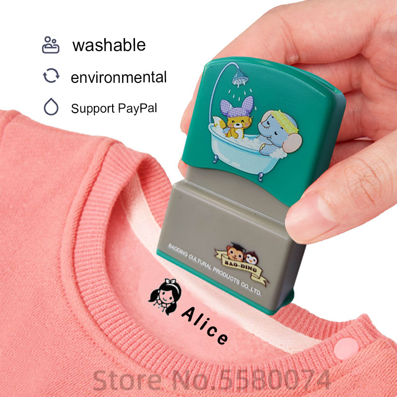 LOVE custom-made Baby Name Stamp DIY for children Name Seal student clothes chapter Not Easy To Fade Security Name Stamp Sticker(China)