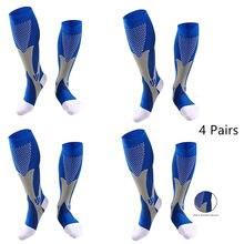 1/2/3/4 pares meias de compressão correndo meias de futebol 30 mmhg ajuste varicosas das mulheres dos homens para meias de ciclismo