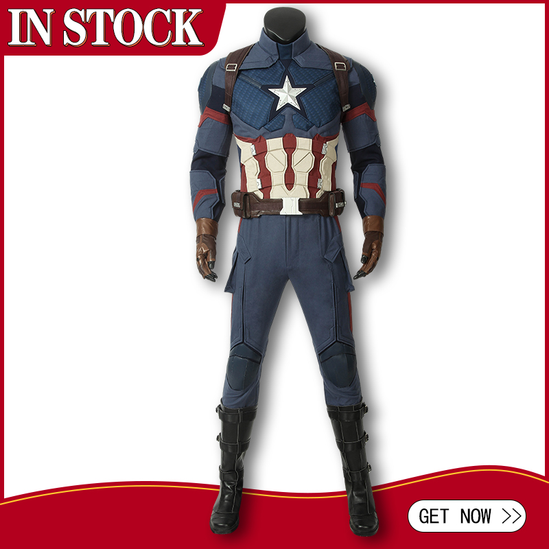 In Stock Avengers 4 Endgame Costume Captain America Steven Rogers Cosplay Jumpsuit Superhero Adult Halloween Outfit Custom Made-in Movie & TV costumes from Novelty & Special Use