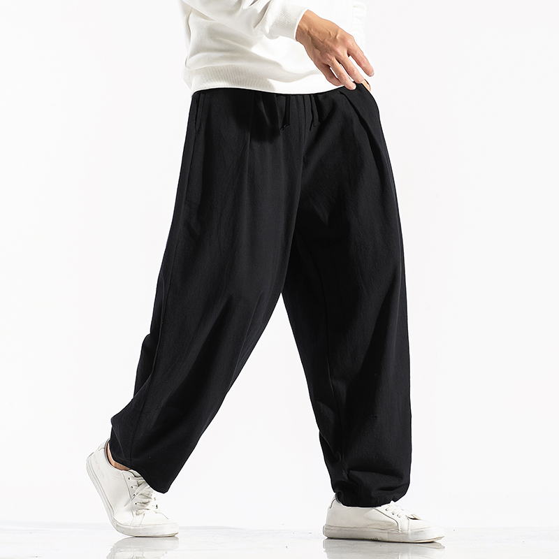 New Men's Solid Color Harem Pants Harajuku Style Men Loose Ankle-Length Trousers Streetwear Male Casual Pants Large Size 5XL