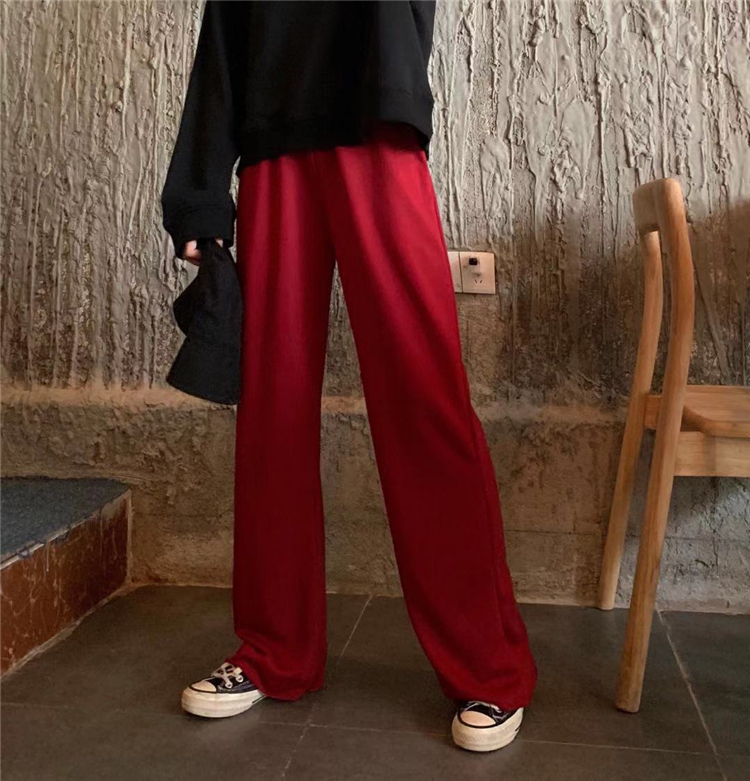 H6492f122df2e48cc8d90fb0921151c1bI - Autumn / Winter High Waist Elastic Broadcloth Straight Solid Pants