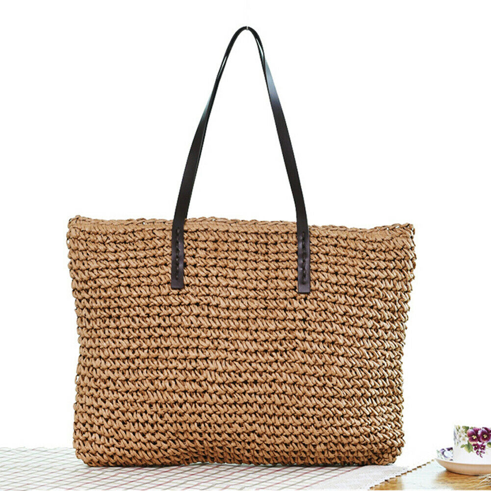 Women Summer Beach Vintage Handmade Knitted Straw Rattan Bag Large Shoulder Bags