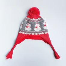 Детская шапка зимняя с ушками флисовая вязаная теплая Красная