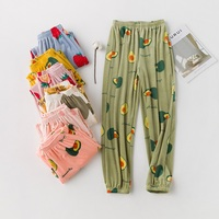 Fashion Multi Color Thick Soft Flannel Pyjama Trousers Autumn Winter Sweet Female Fruit Long Home Pants Floral Sleep Bottoms