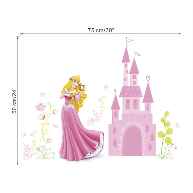Seven Princess Dreaming Castle  Vinyl Wall Sticker Decals Kids Room Decoration