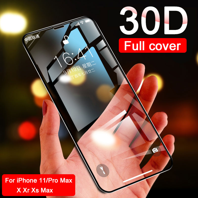 30d capa completa curvo vidro temperado para iphone 11 pro x xr xs max protetor de tela de vidro protetor de proteção iphone 6 7 8 mais filme