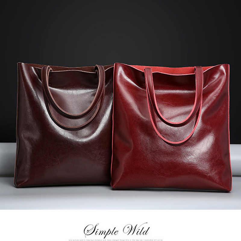 ビッグ牛革ショルダーバッグレディース本革女性の有名なブランドのデザイナーハンドバッグ女性のファッションハンドバッグ 2019