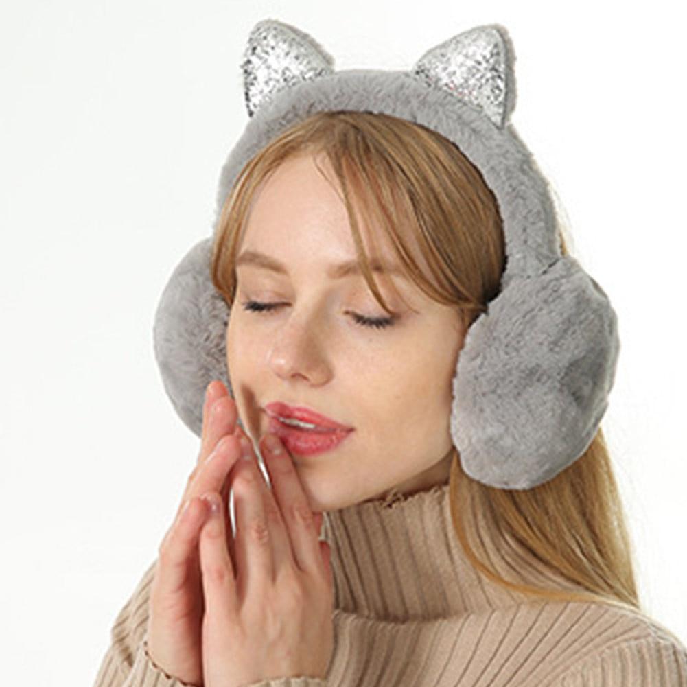 Women Earmuffs Cartoon Cat Ears Windproof Ears Warm Adjustable Earmuffs J55