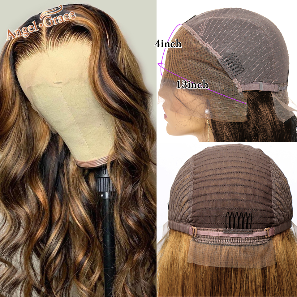 Anjo graça 13x4 ombre destaque frente do laço peruca de cabelo humano 4/27 colorido loira pré arrancadas perucas brasileiras da onda do corpo para as mulheres