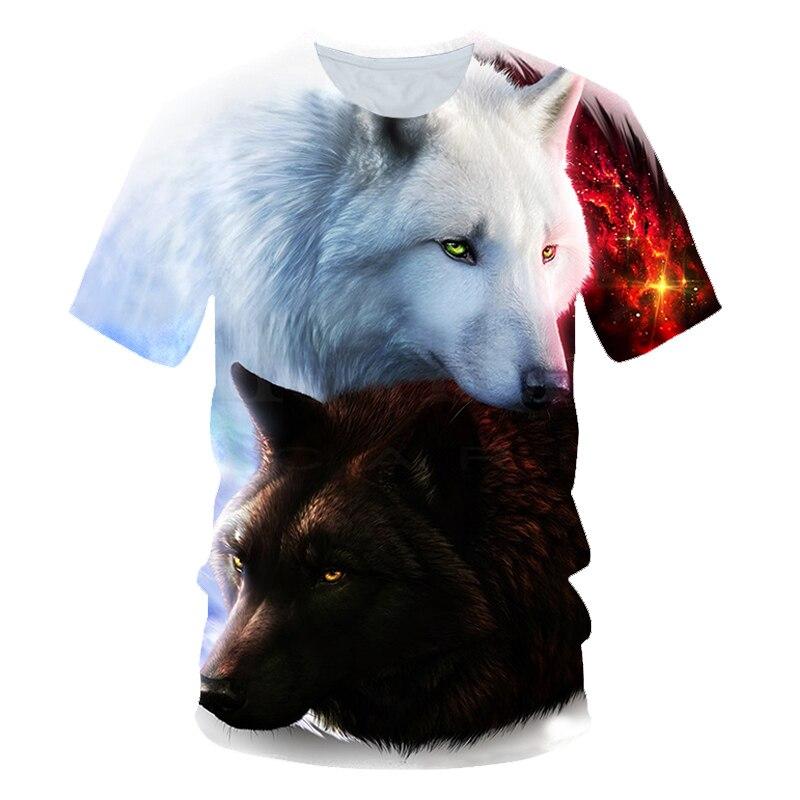 2019 Summer Kids 3D T Shirt Animal Snow Wolf Head Fashion Children T-shirt Boy Girl Fashion Clothing Tee Tops