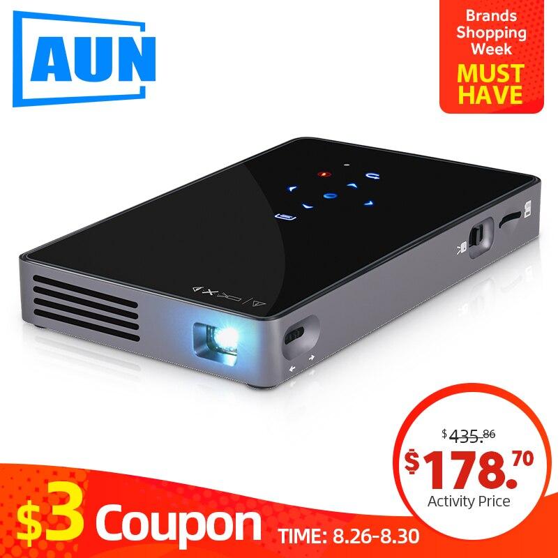 AUN MINI projecteur D5S, Android 7.1 (facultatif 2G + 32G) WIFI, batterie 5000 mAH, projecteur à LED portable pour vidéo 1080 P, projecteur 3D