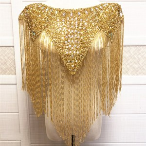 Image 4 - new Wedding wedding handmade double side  crystal beaded Neckline  collar appliques with tassels  Fringe l