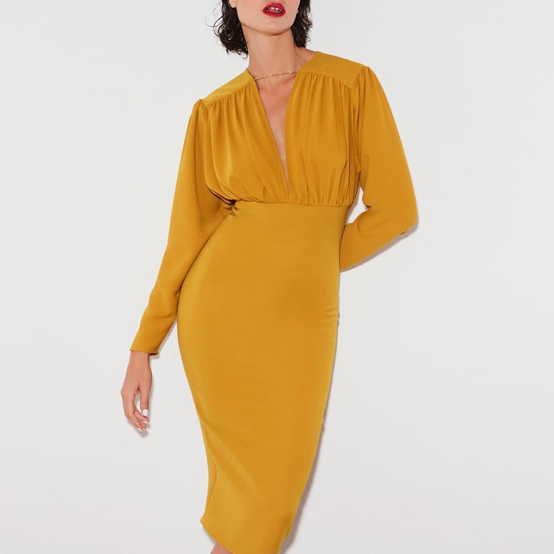 Image 5 - Turmeric Elegant pleated midi dress women 2019 Autumn Party yellow bodycon ladies dress Plus size high waist winter dress new-in Dresses from Women's Clothing