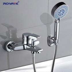 Rovate torneira da banheira de bronze 2-função de saída fixado na parede banho chuveiro torneiras misturadora chrome terminado